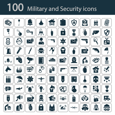 army gas mask: Set of one hundred military and police icons