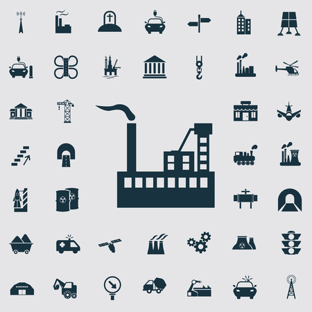 infraestructura: Conjunto de cuarenta iconos de la industria y de infraestructura