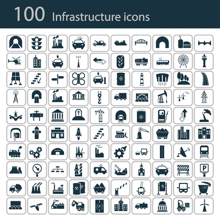 industry: Set of one hundred industry and infrastructure icons