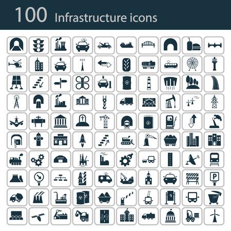 Set von hundert Industrie und Infrastruktur-Icons Vektorgrafik