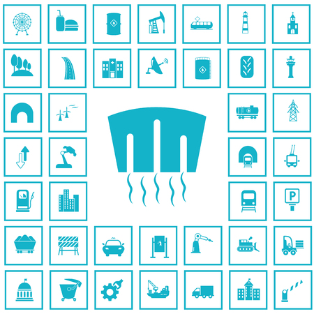 industry icons: Set of forty industry and infrastructure icons
