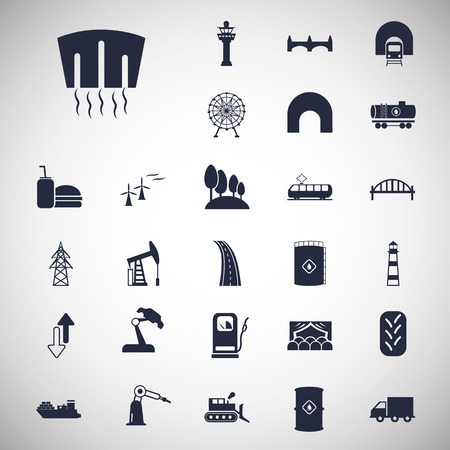 infrastructure: Set of twenty seven industry and infrastructure icons