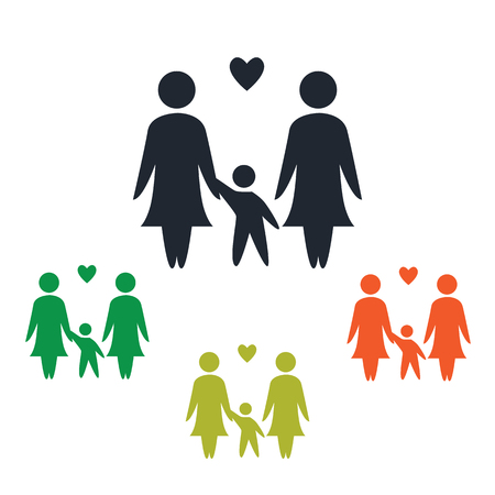 kinship: Unisexual family icon Illustration