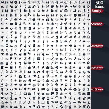 universal love: Conjunto de iconos universales quinientos Vectores