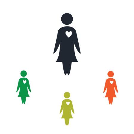 kinship: Woman in love icon Illustration