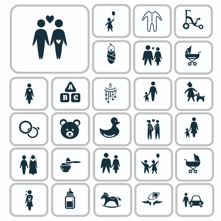 kin: Set of twenty seven family icon Illustration