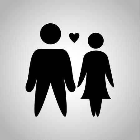 kinship: Couple in love icon Illustration