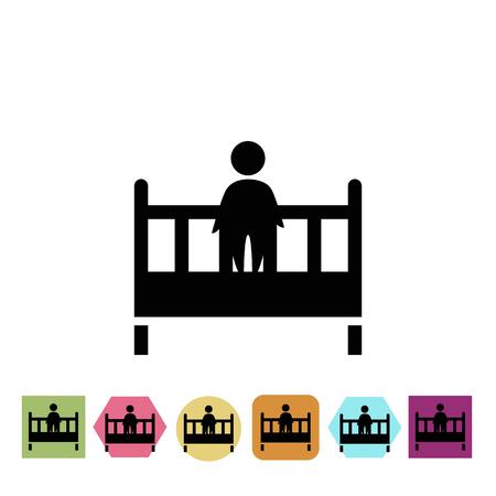 kin: Baby cot icon Illustration