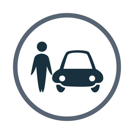 kin: Man wiat a car icon