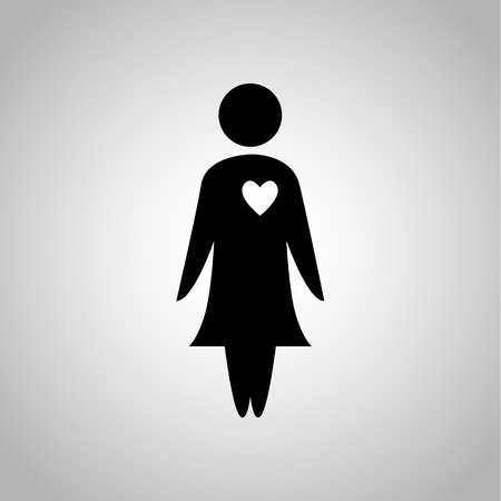 kinship: Woman in love icon Illustration
