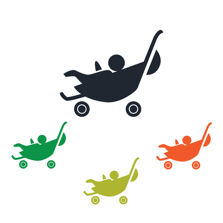 kinship: Stroller with baby icon Illustration