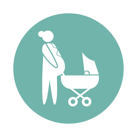 kin: Woman pregnant with her second child icon Illustration