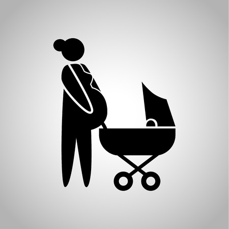 kinship: Woman pregnant with her second child icon Illustration
