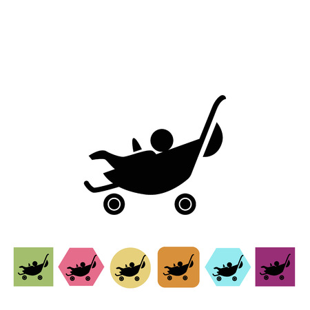 stroller: Stroller with baby icon Illustration