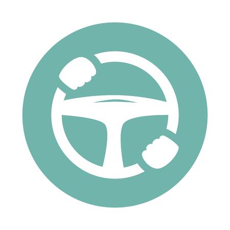 Auto-Lenkrad mit den Händen Symbol Standard-Bild - 54826643