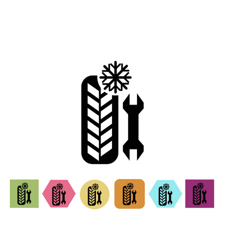 the shaft: Winter tire service provide icon Illustration