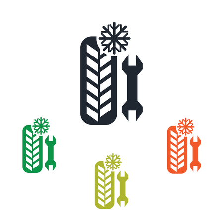 winter tire: Winter tire service provide icon Illustration