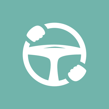 car driver: car steering wheel with hands icon