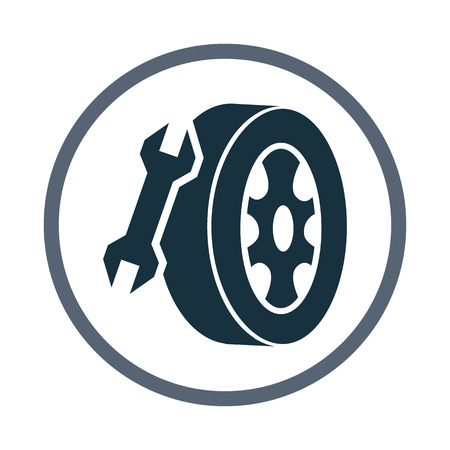 wheel change: Tires repair service icon