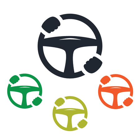 car steering wheel with hands icon
