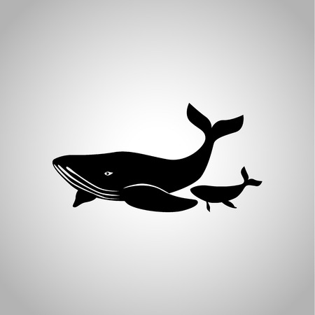 Whale with child icon