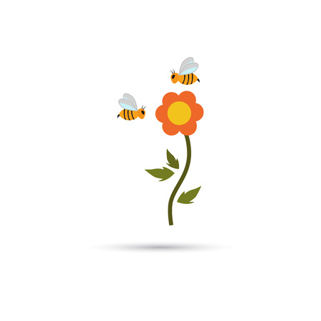 pollinate: Flower and bees color icon