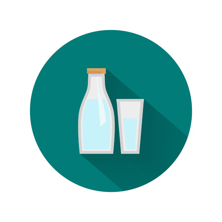 Bottle of milk and glass icon
