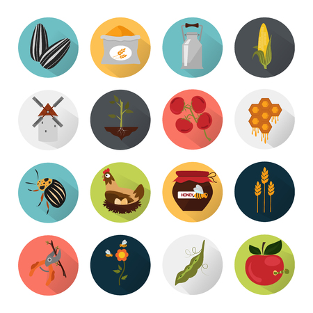 tomato caterpillar: Agriculture color set icons
