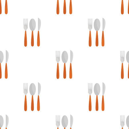 spoon fork: Color illustration of spoon, fork and knife icon