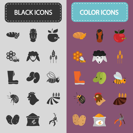 bag of soil: Set of color and black agriculture icons Illustration