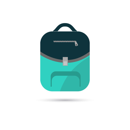 Color illustration of school backpack icon