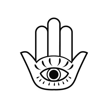 Hamsa Hand With Eye Symbol Icon Isometric 3d Style Black