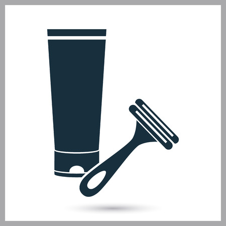 shaving cream: Shaving cream and razor icon on the background