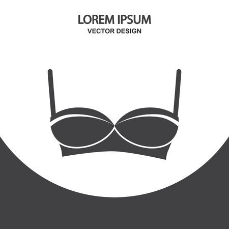 dress size: Women bra icon on the background Illustration
