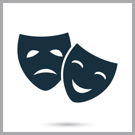 comedy: Drama and comedy masks icon on the background Illustration