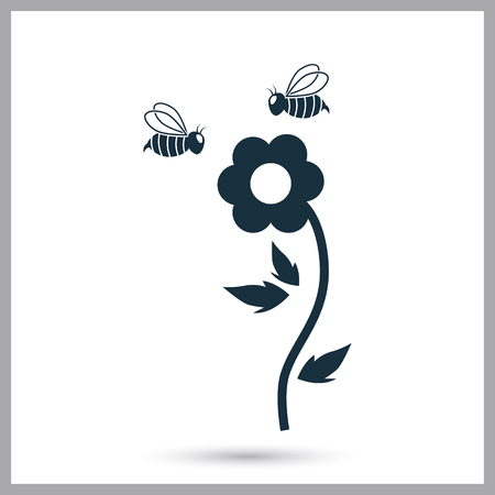 Flower pollination icon on the background