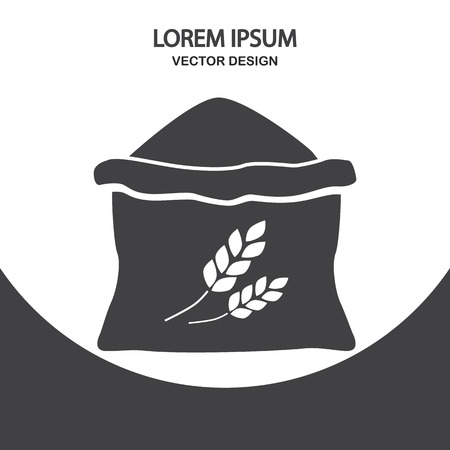 grain storage: Sack of flour icon on the background