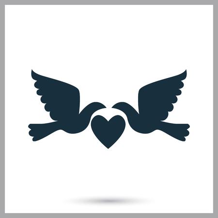 kin: Wedding pigeon icon on the background