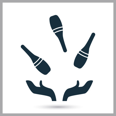 juggle: Juggling pins icon on the background Illustration