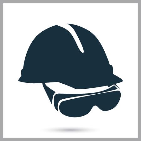 Casque de construction et des lunettes icône sur l'arrière-plan Banque d'images - 57317644