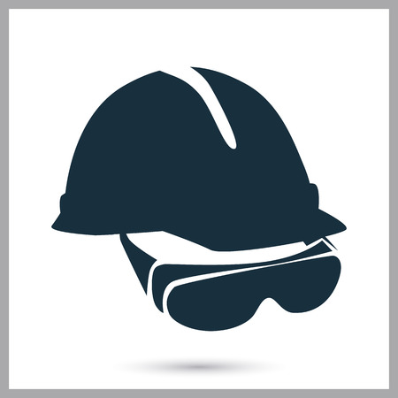 Construction helmet and glasses icon on the background
