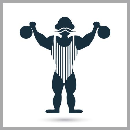 strongman: Circus strongman icon on the background