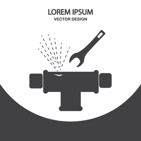 tube wrench: Broken pipe icon on the background