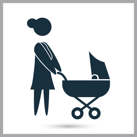 kin: Woman with baby icon on the background
