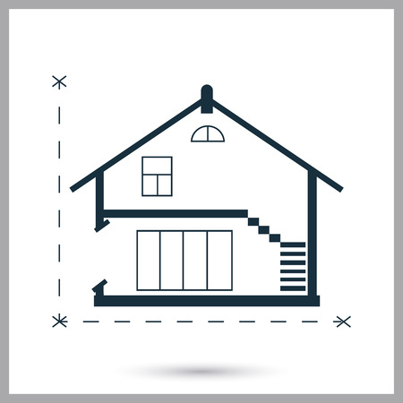 House plan icon on the background Illustration