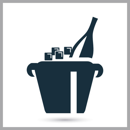 bucket of money: Champagne in bucket icon on the background