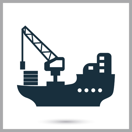 Cargo barge icon on the background