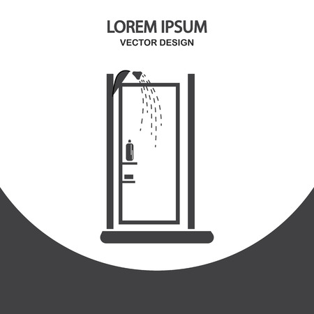 furniture transport: Shower icon on the background Illustration