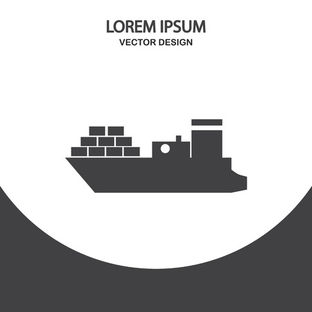 Cargo ship icon on the background
