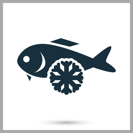 frozen meat: Frozen fish icon on the bacground